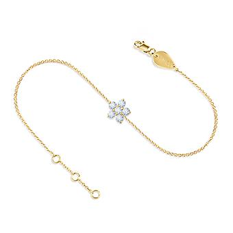 Baby Anklet Fairy Flower, 18K Gold and Diamonds
