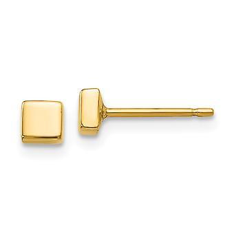 14kイエローゴールドホローポリッシュスクエアポストイヤリングは、女性のための3x3mmジュエリーギフトを測定します