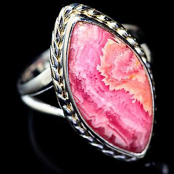 Rhodochrosite Ring Size 7.5 (925 Sterling Silver)  - Handmade Boho Vintage Jewelry RING5393