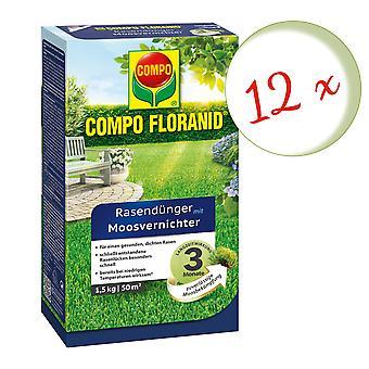 Sparset: 12 x COMPO Floranid® Gressgjødsel med mosemorder, 1,5 kg