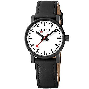 Mondaine evo2 IP Case Black Leather Strap Men's Watch