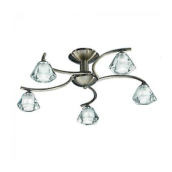 Bronze Ceiling Lamp In Twista Crystal 5 Bulbs
