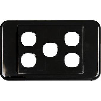 5 Way Australian Style Wall Plate Black