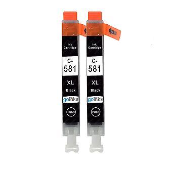2 mustaa mustekasettia Canon CLI-581Bk -yhteensopivan/ei-OEM-yhteensopivan tai ei-OEM-yhteensopivan ja go-musteen tilalle