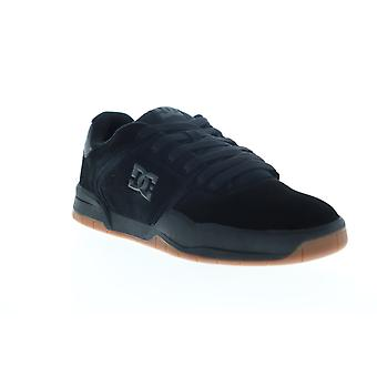 DC Central  Mens Black Suede Lace Up Athletic Skate Shoes