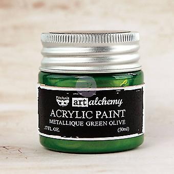 Finnabair Art Alchemy Acrylic Paint Metallique Green Olive