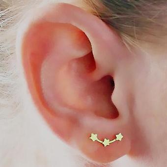 Three Star Ear Climber Studs - Gold