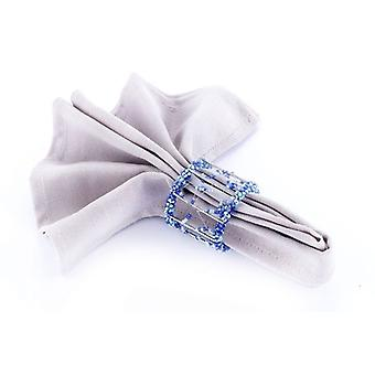 Napkin Ring Beaded Blue/Silver - Set Of 4 Pieces