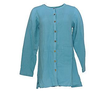 Joan Rivers Femmes's Top Crinkle Texture Button Front Tunique Bleu A288760