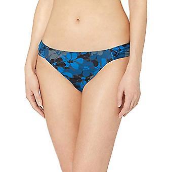 Essentials Women's Side Tab Bikini Swimsuit Bottom, Blue Floral, M