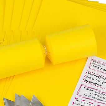 8 Jumbo Yellow Make & Fill Your Own DIY Recyclable Christmas Cracker Craft Kit