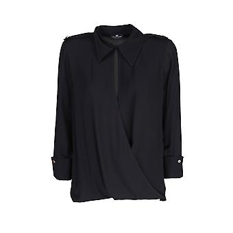 Elisabetta Franchi Ca29606e2110 Naiset's Musta Viskoosi paita