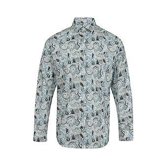 Jenson Samuel Silver & Blue Paisley Floral Print Regular Fit Cotton Shirt