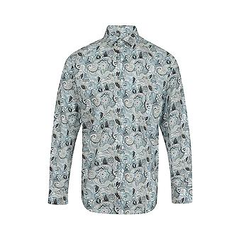 Jenson Samuel Zilver & Blue Paisley Floral Print Regular Fit Katoen Shirt