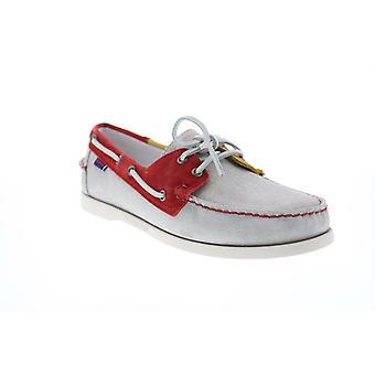 Sebago Portland Jibs  Mens Gray Suede Loafers & Slip Ons Boat Shoes
