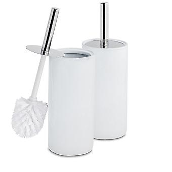 Toilet Brush and Closed Ceramic Holder Set - Steel Handle - White - Pack of 2