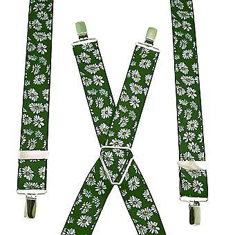 Ties Planet Green & White Daisy Fiore a motivi di men's Trouser Braces
