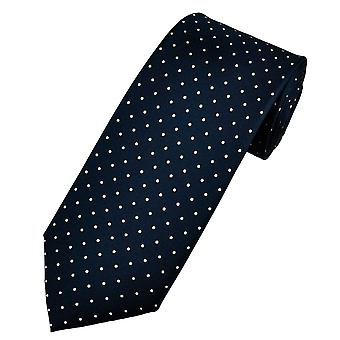 Ties Planet Gold Label Navy Blue & White Polka Dot Printed Silk Men's Tie