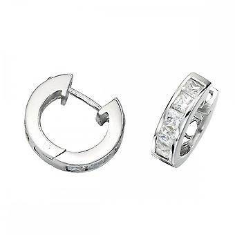 Beginnings Sterling Silver E266C 5 Stones Hoop Earrings