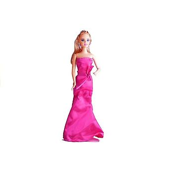 Play doll in an evening dress - Pink gala dress - dollhouse dolls -28 cm long