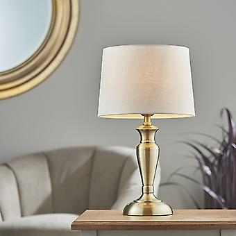 Endon Lighting Oslo & Mia - Table Lamp Antique Brass Plate & Natural Linen 1 Light IP20 - E27