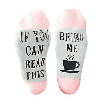 "Flo Slogan Socks ""If You Can Read This, Bring Me A Cup Of Tea"" - UK Size 4-7 [Pink]"