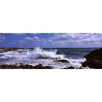 Coastal Waves Cozumel Mexico Poster Print by Panoramic Images (34 x 12)