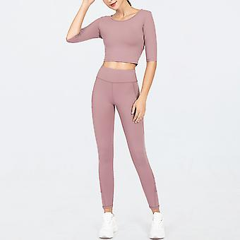 Women's Workout Outfit 2 Pieces Yoga Leggings with Sports Long-Sleeve Gym Clothes Set