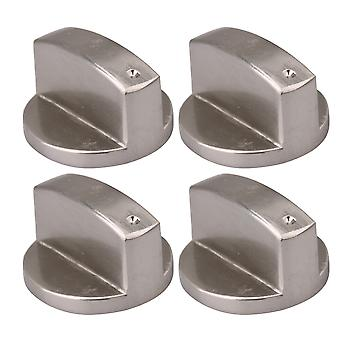 4Pieces Silver 8mm Shaft Core 0 Degree Gas Stove Brushed Control Knob