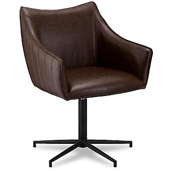 Ibbe Design Alberte Dining Chair Dark Brown Faux Leather - Set of 2, 60x62x84 cm