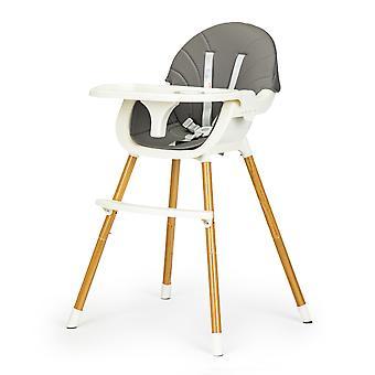 Høj stol - spisestuestol - justerbar - grå og hvid - 60x55x92 cm