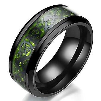 Domineering Ring Carbon Fiber Dragon Inlay Comfort Fit Stainless Steel Wedding