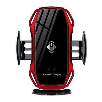 FLOVEME 10W Wireless Qi Car Charger - Airvent Clip Charger Universal Wireless Car Charging Pad Red