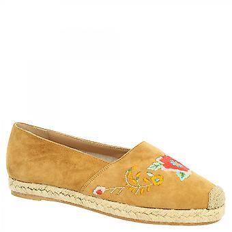 Leonardo Shoes Women's käsintehdyt slip-on espadrilles kengät meripihkanvärinen mokkanahka kirjailtu kukkia