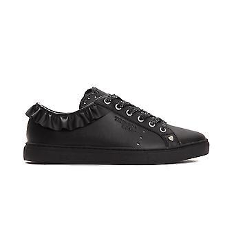 Trussardi Jeans Nero Black Frill Calf Leather Sneakers