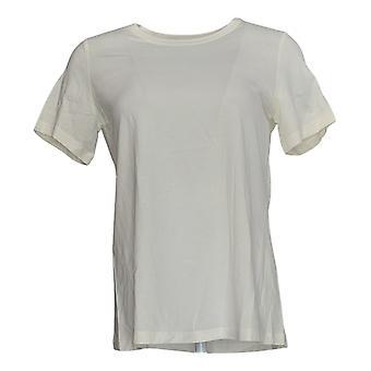 LOGO par Lori Goldstein Women's Top Knit W/ Short Sleeves Ivory A342991