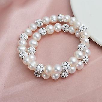 Naturliga Sötvatten Pärla armband Bangles Med Vit Lera Zircon