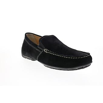 Geox Uomo Moner  Mens Black Loafers & Slip Ons Moccasin Shoes
