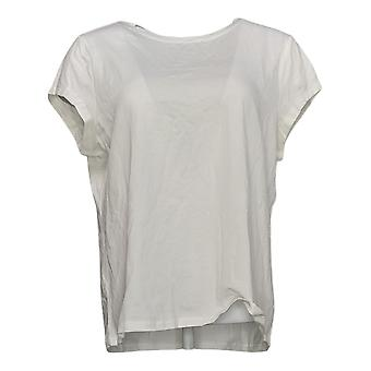 Anybody Women's Top Crew Neck Short Sleeve Tee White