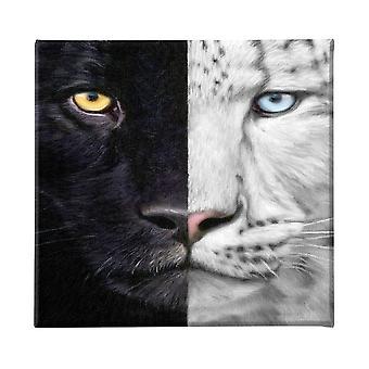 Pintura felina multicolor en poliéster, madera, L60xP3xA60 cm