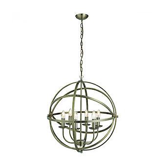 Lámpara Colgante Orbit De 6 Luces En Latón Antiguo