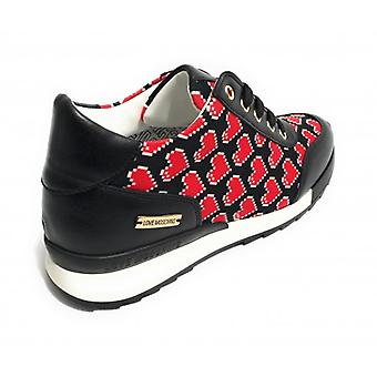 Shoes Women's Sneaker Running Love Moschino In Ecopelle and Canvas Black /Hearts Ds18mo06