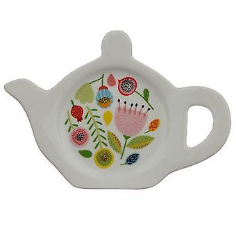 Prato/suporte de chá de porcelana - outono cai