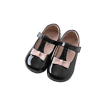 Dave Bella Spring Autumn Baby Pink Bow Leather Shoes