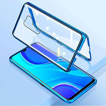 Stuff Certified® Xiaomi Poco X3 Pro Magnetic 360 ° Case with Tempered Glass - Full Body Cover Case + Screen Protector Blue