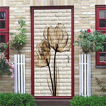 Flower Brick Door Mural Self-adhesive Waterproof Vinyl Wall Sticker