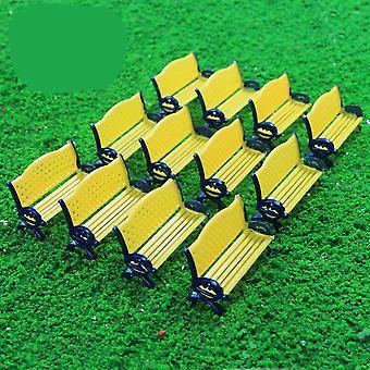 模型火车平台公园街座位长凳