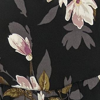Belle By Kim Gravel Women's Top Fall Magnolia Print Blouse Black A386451
