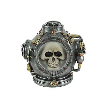 Hand Painted Steampunk Mark V Diver Helmet Skull Statue 6.25 Inches High