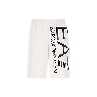 Emporio Armani EA7 Bomuld Grafisk Logo Hvide shorts